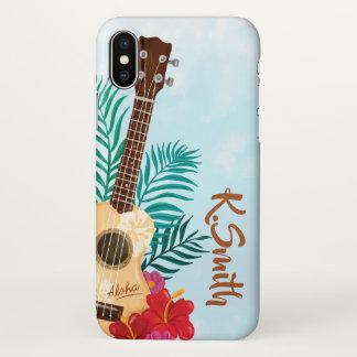 Monogram. Aloha. Hawaii Flowers and Guitar iPhone X Case