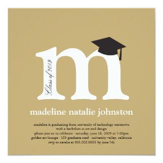 Monogram Alphabet Graduate Graduation Photo Party 13 Cm X 13 Cm Square Invitation Card