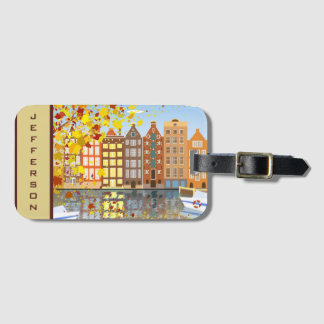 Monogram Amsterdam City Canal Colorful Luggage Tag