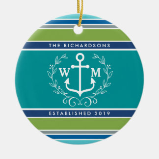 Monogram Anchor Laurel Wreath Stripes Aqua Ceramic Ornament