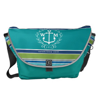 Monogram Anchor Laurel Wreath Stripes Aqua Messenger Bag