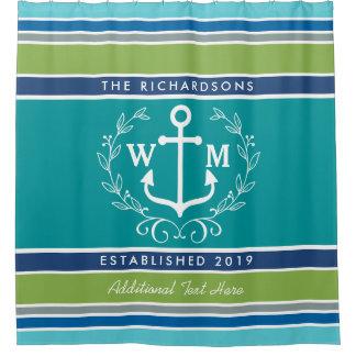 Monogram Anchor Laurel Wreath Stripes Aqua Shower Curtain