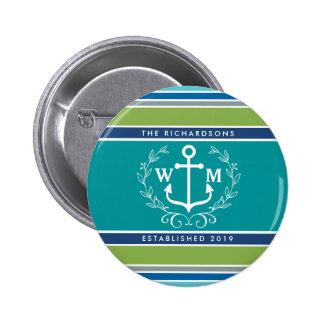 Monogram Anchor Laurel Wreath Stripes Nautical 6 Cm Round Badge