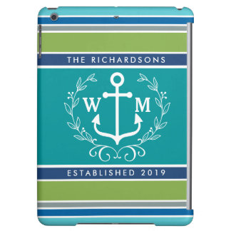 Monogram Anchor Laurel Wreath Stripes Nautical Cover For iPad Air