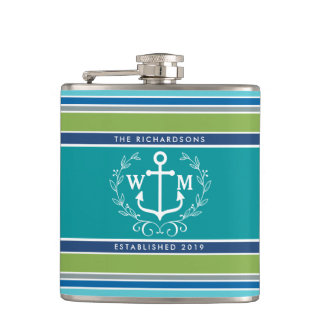 Monogram Anchor Laurel Wreath Stripes Nautical Flasks