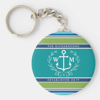 Monogram Anchor Laurel Wreath Stripes Nautical Key Ring