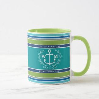 Monogram Anchor Laurel Wreath Stripes Nautical Mug