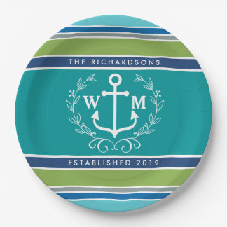 Monogram Anchor Laurel Wreath Stripes Nautical Paper Plate