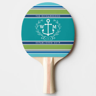 Monogram Anchor Laurel Wreath Stripes Nautical Ping Pong Paddle