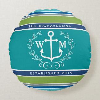 Monogram Anchor Laurel Wreath Stripes Nautical Round Cushion