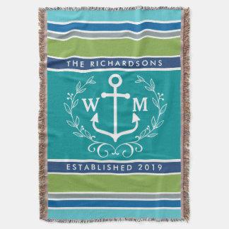 Monogram Anchor Laurel Wreath Stripes Nautical Throw Blanket