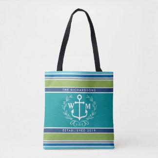 Monogram Anchor Laurel Wreath Stripes Nautical Tote Bag