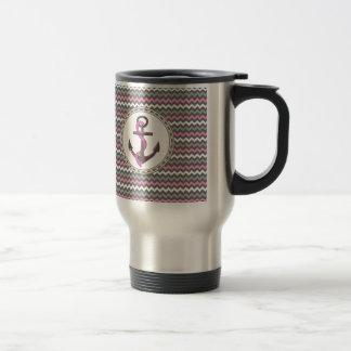 Monogram Anchor Nautical Zigzag Coffee Travel Mugs