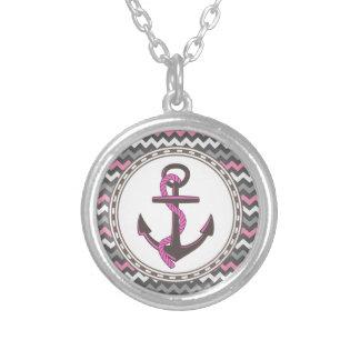 Monogram Anchor Nautical Zigzag Necklaces