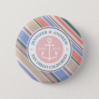 Monogram Anchor Trendy Stripes Pink Nautical Beach 6 Cm Round Badge