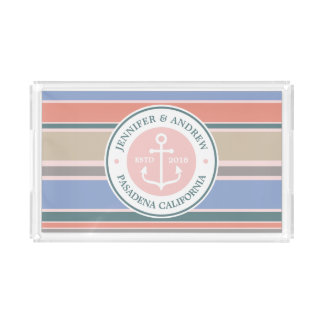 Monogram Anchor Trendy Stripes Pink Nautical Beach Acrylic Tray