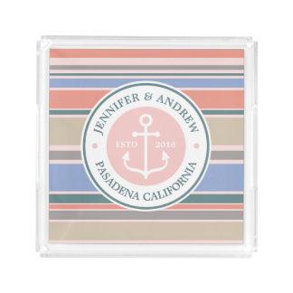 Monogram Anchor Trendy Stripes Pink Nautical Beach Acrylic Tray