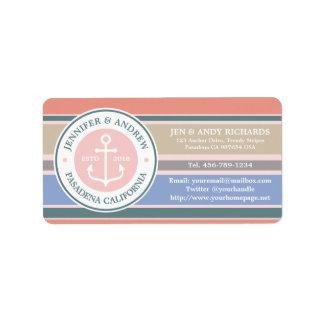 Monogram Anchor Trendy Stripes Pink Nautical Beach Address Label