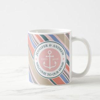 Monogram Anchor Trendy Stripes Pink Nautical Beach Coffee Mug