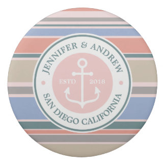 Monogram Anchor Trendy Stripes Pink Nautical Beach Eraser