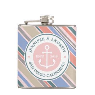 Monogram Anchor Trendy Stripes Pink Nautical Beach Flasks