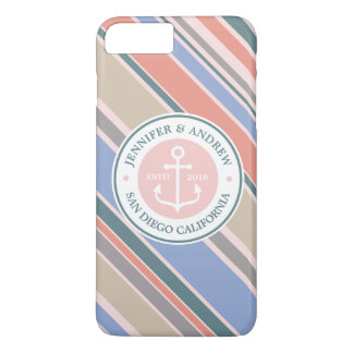 Monogram Anchor Trendy Stripes Pink Nautical Beach iPhone 8 Plus/7 Plus Case
