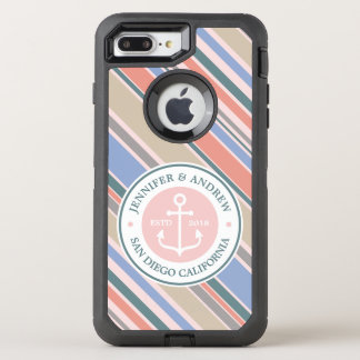 Monogram Anchor Trendy Stripes Pink Nautical Beach OtterBox Defender iPhone 7 Plus Case