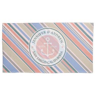 Monogram Anchor Trendy Stripes Pink Nautical Beach Pillowcase
