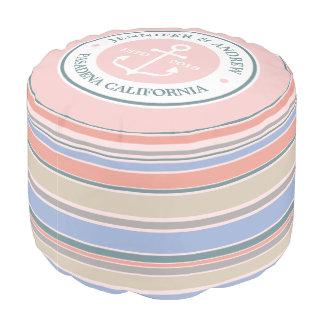 Monogram Anchor Trendy Stripes Pink Nautical Beach Pouf