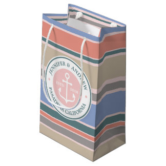 Monogram Anchor Trendy Stripes Pink Nautical Beach Small Gift Bag