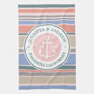 Monogram Anchor Trendy Stripes Pink Nautical Beach Tea Towel