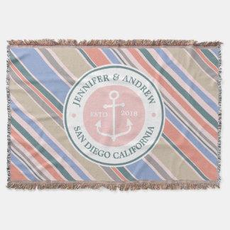 Monogram Anchor Trendy Stripes Pink Nautical Beach Throw Blanket