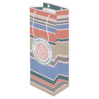 Monogram Anchor Trendy Stripes Pink Nautical Beach Wine Gift Bag