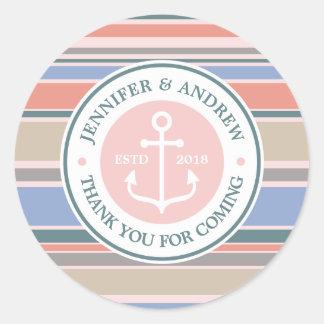Monogram Anchor Trendy Stripes Pink Thank You Round Sticker