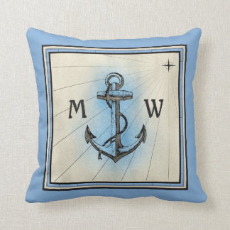 Monogram Anchor Vintage Blue Nautical Compass Cushion
