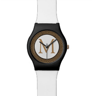 MONOGRAM Ancient greek pattern Wrist Watches