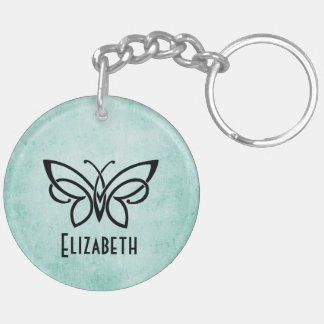 Monogram and Butterfly plus your name on back Key Ring