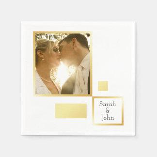 Monogram and custom photo | gold foil wedding disposable serviette