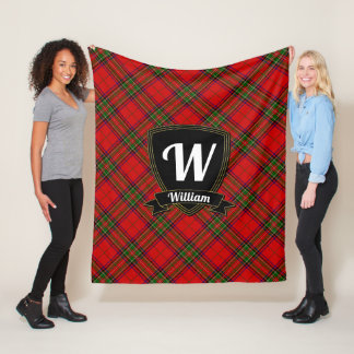 Monogram and Name on Tartan Plaid Fleece Blanket