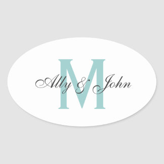 Monogram and names wedding sticker