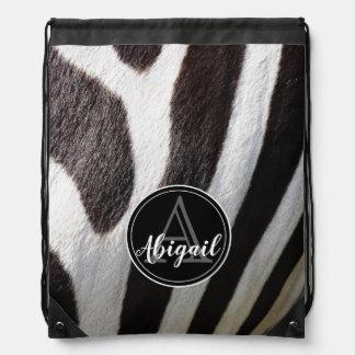 Monogram and photo of black & white zebra stripes, drawstring bag
