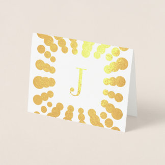 Monogram and Polka Dots Foil Card