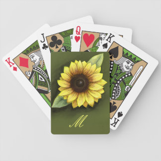 Monogram and Sunflower Bicycle Playing Cards