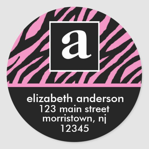 Monogram and Zebra Address Labels Stickers | Zazzle