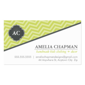 MONOGRAM angled chevron pattern kiwi green grey Pack Of Standard Business Cards