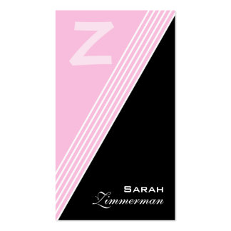 Monogram Angles Pink Business Card