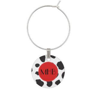 Monogram - Animal Print, Cow Spots - Black Red Wine Glass Charm