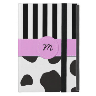 Monogram - Animal Print, Cow Spots - Black White Cover For iPad Mini