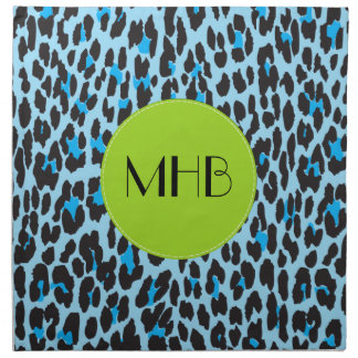 Monogram - Animal Print, Spotted Leopard - Blue Napkin