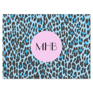 Monogram - Animal Print, Spotted Leopard - Blue Tissue Paper